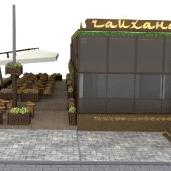 Эскизы летнего кафе / Этника Фасады Рестораны Восточный стиль Архитектура