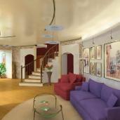 Гостиная с колонной / Лестницы Квартиры Интерьеры Гостиные