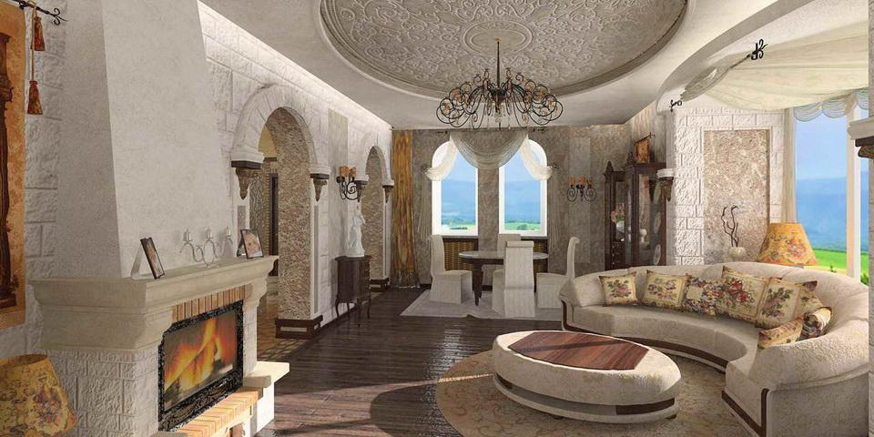 Гостиная в средне-земноморском стиле
