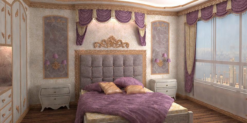 Романтическая спальня (Интерьеры, Квартиры, Классика, Спальни)